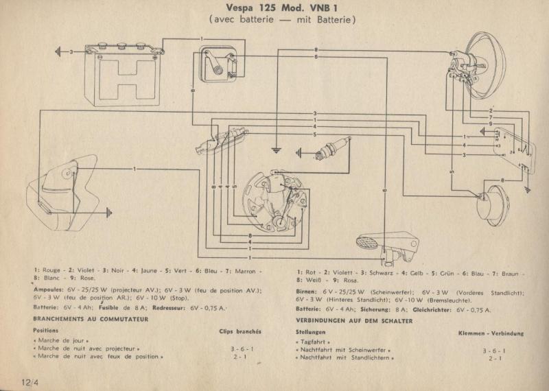 Schaltplan Vespa 125 VNB1 (mit Batterie) – Vespa Lambretta Wiki